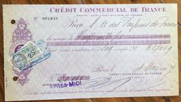 FRANCIA CAMBIALE TRATTA PAGHERO' CREDIT COMMERCIAL DE FRANCE    CON AUTOGRAFI E MARCHE DA BOLLO - 1900 – 1949