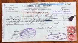 BELGIQUE BELGIO RICEVUTA ASSICURAZIONE LA GARANTIE BELGE  ACCIDENTS   CON AUTOGRAFI E FRANCOBOLLO-MARCHE DA BOLLO - 1900 – 1949
