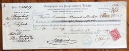 BELGIQUE BELGIO RICEVUTA COMPAGNIE DES PROPRIETARIES REUNIS   CON AUTOGRAFI E FRANCOBOLLO (PERFINS) -MARCHE DA BOLLO - 1900 – 1949