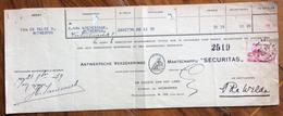 """BELGIQUE BELGIO RICEVUTA ASSICURAZIONE """"SECURITAS""""    CON AUTOGRAFI E FRANCOBOLLO-MARCHE DA BOLLO - 1900 – 1949"""