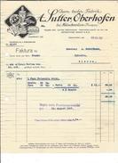 F33 - Facture Sutter Oberhofen Chem. Techn.Fabrik Pour Schulthess Siders Sierre - Suisse