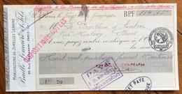 FRANCIA CAMBIALE PAGHERO'  PARIS MANUFACTURE JUMELLES LEMAIRE  CON AUTOGRAFI E  BOLLO - 1900 – 1949