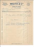 F43 - Facture Lausanne Weith Mercerie Bonneterie Pour Alois Schulthess Siders Sierre - Suisse