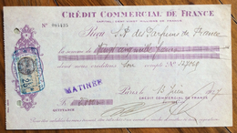 FRANCIA  CAMBIALE PAGHERO' CREDIT COMMERCIAL DE FRANCE  CON AUTOGRAFI E  FRANCOBOLLO - 1900 – 1949