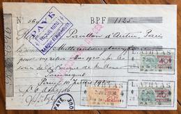 FRANCIA  RICEVUTA   CON AUTOGRAFI E  MARCHE DA FRANCOBOLLO - 1900 – 1949