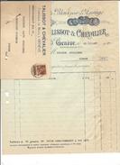 F44 - Facture + Carte De Remboursement Talissot & Chevalier Genève Pour Alois Schulthess Siders Sierre - Switzerland