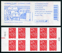 """Carnet De 2005 De 10 Timbres Type """"Lamouche"""" Avec Couvert. Blanche """"La France à Voir"""" - Avec RE Et RGR-2 Au-dessus - Carnets"""