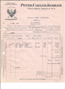 F47 - Facture + Carte De Remboursement Cailler La Tour De Peilz Pour Alois Schulthess Siders Sierre - Suiza
