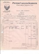 F48 - Facture + Carte De Remboursement Cailler La Tour De Peilz Pour Alois Schulthess Siders Sierre - Switzerland