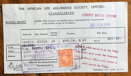REGNO UNITO THE AFRICAN LIFE ASSURANCE SOCIETY LIMITED JOHANNESBURG RICEVUTA CON FRANCOBOLLO/MARCA DA BOLLO - United Kingdom