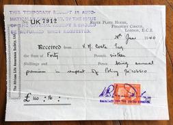 REGNO UNITO THE AFRICAN LIFE ASSURANCE SOCIETY LIMITED RIVER PLATE HOUSE LONDON  RICEVUTA CON FRANCOBOLLO/MARCA DA BOLLO - Regno Unito