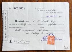 REGNO UNITO THE AFRICAN LIFE ASSURANCE SOCIETY LIMITED BERKHAMSTED HERTS   RICEVUTA CON FRANCOBOLLO/MARCA DA BOLLO - Regno Unito