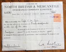 REGNO UNITO NORTH BRITISH & MERCANTILE INSURANCE COMPANY LIMITED    RICEVUTA CON FRANCOBOLLO/MARCA DA BOLLO - Regno Unito