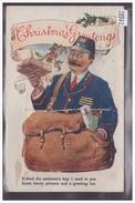 CARTE SYSTEME LEPORELLO - CHRISTMAS GREETINGS - DEPLIANT DANS LA SACOCHE DU FACTEUR - B ( PLI MARQUE SUR LE RABAT ) - Dreh- Und Zugkarten