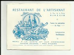 20 - Corse - Ajaccio - Restaurant De L'Artisanat  -  Carte De Visite - Belle Vignette- 2 Rue De La Porta - - Visiting Cards