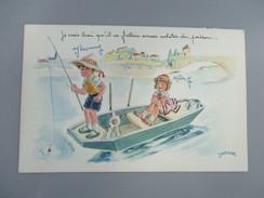 CPA FANTAISIE ILLUSTRATEUR JANSER ENFANTS PECHE BARQUE - Janser