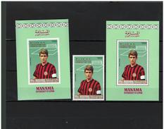MANAMA Soccer Football  1969  FC Milan  1v. Perf. +SS Perf.+imperf.  With Red Overprint  Rare! - Berühmte Teams