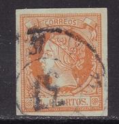 ESPAÑA 1860 - Isabel II Sello Usado 4 Cu. Edifil Nº 52 Rueda De Carreta Nº 37 De Palma De Mallorca - 1850-68 Royaume: Isabelle II