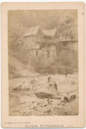 SAVOIE, Entrée Des Gorges Du Fier, 1880 - Photo Format Cabinet Contrecollée Sur Carton Fort - 2 Scans - Photos
