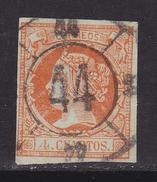ESPAÑA 1860 - Isabel II Sello Usado 4 Cu. Edifil Nº 52 Rueda De Carreta Nº 44 De Segovia - 1850-68 Royaume: Isabelle II