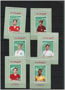 AJMAN  1968 Football Soccer  Famous Players,  6 Deluxe Sheets  SPECIMEN Perf. Rare! - Zonder Classificatie