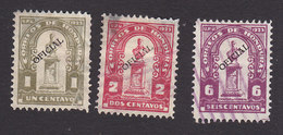 Honduras, Scott #O75-O77, Used, Regular Issued Overprinted, Issued 1924
