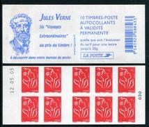 """Carnet De 2005 De 10 Timbres Type """"Lamouche"""" Avec Couvert. Blanche """"Jules Verne"""" - Avec Date 12.05.05 - Carnets"""