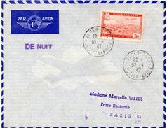 """1947-Algérie -Lettre D'Alger Pour Paris -Obl Départ""""ALGER-GARE -SECTION-AVIATION"""" """"DE NUIT""""-Obl. Arrivée """"PARIS AVIATION - Algeria (1924-1962)"""