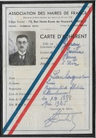 ASSOCIATION DES MAIRES DE FRANCE ( Genay) 1925. Carte D'adhérent.