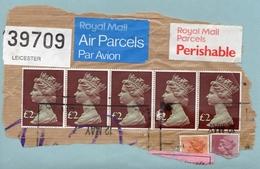 1977 - Grande Bretagne - 5 Timbres £2 Elisabeth II (Yvert N° 823) Sur Fragment - Gebraucht