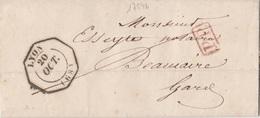 17546# LETTRE Obl LYON 1843 RHONE PP PORT PAYE TIMBRE A DATE ESSAI OCTOGONAL Pour BEAUCAIRE GARD - 1801-1848: Precursori XIX