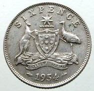 1954 - Australia 6 Pence  - KM# 52 - Moneta Pre-decimale (1910-1965)