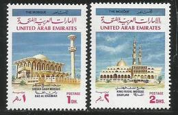 1991 United Arab Emirates Mosques Religion Complete Set Of 2 MNH - United Arab Emirates (General)
