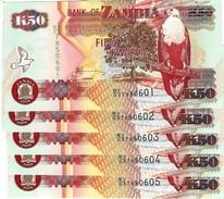 ZAMBIA 50 KWACHA 2009 P-37h UNC 5 PCS [ZM138i] - Zambie