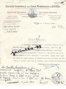Certificat De Travail Paul PERRIN Viviers- Le-Gras Ouvrier Embouteillage Eaux Vittel Vosges/ Chausse Contrexéville/ Vélo - France