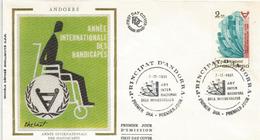ANDORRA  . Aide Aux Personnes Handicapés.  FDC D'Andorre - Handicaps
