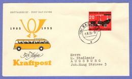 GER SC #728 (Mi 211) 1955 Postal Motor Bus Service FDC 06-01-1955 - [7] Federal Republic