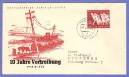 GER SC #733 (Mi 215) 1955 Expatriation FDC 08-02-1955 - FDC: Enveloppes