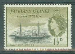Falkland Islands Dep: 1954/62   QE II - Pictorial   SG G28    1½d   Black & Olive    MNH - Falklandeilanden