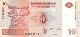 CONGO DEMOCRATIC REPUBLIC 10 FRANCS 2003 P-93 UNC PRINTER GIESECKE & DEVRIENT [ CD312a ] - Congo