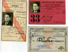 3 Cartes:  D'invalidité, De Priorité, Et Membre: Mutilé De Guerre. Mr Flèche, Rue De Bagnolet Paris: Né à St Mandé - Documentos