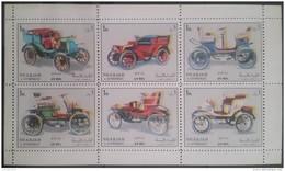 GS22 - Sharjah 1972 Mi. 1332-1337 Complete Set 6v. MNH - Classic Cars In One Min Sheet - Sharjah