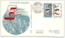 ITALY 1957 EUROPA CEPT  FDC ( Verona ) - Europa-CEPT