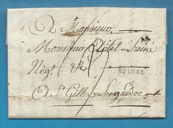 Vosges - Epinal Pour St Gilles (Gard). LAC De 1791. TTB - Marcophilie (Lettres)