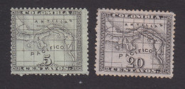 Panama, Scott #10, 12, Mint Hinged, Map, Issued 1887