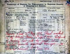 TITANIC - Réplique - Transcript Of Register For Transmission To Registrar-General Of Shipping And Seamen - Plakate