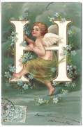 ANGE - Lettre H - Carte Gaufrée - Anges