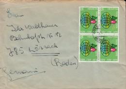 SCHWEIZ  1017 4erBlock MeF, Auf Auslandsbrief, Mit St: Luzern 6.12.1974 - Blocks & Kleinbögen