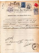 1938 CERTIFICATO COMUNALE NAPOLI  CON MARCHE COMUNALI - Cinderellas