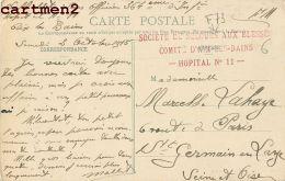 AIX-LES-BAINS CACHET MILITAIRE HOPITAL N°11 SECOURS AUX BLESSES SOLDATS GUERRE PLACE DU COMMERCE - Aix Les Bains